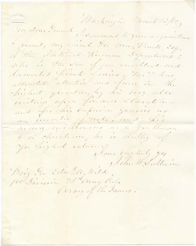 Autograph Letter Signed by John Whiting SULLIVAN, ca  1801- on Main Street  Fine Books & Manuscripts