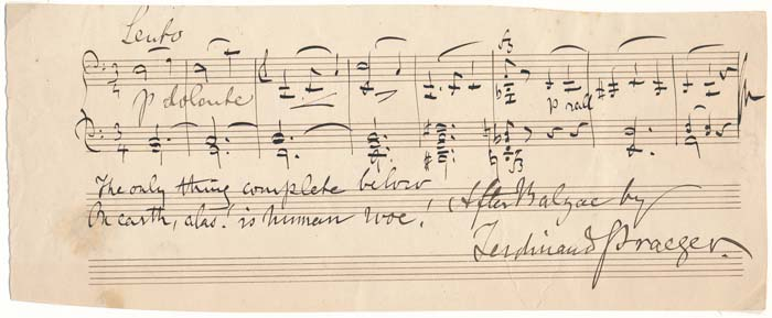 Autograph Musical Quotation Signed. Ferdinand PRAEGER.