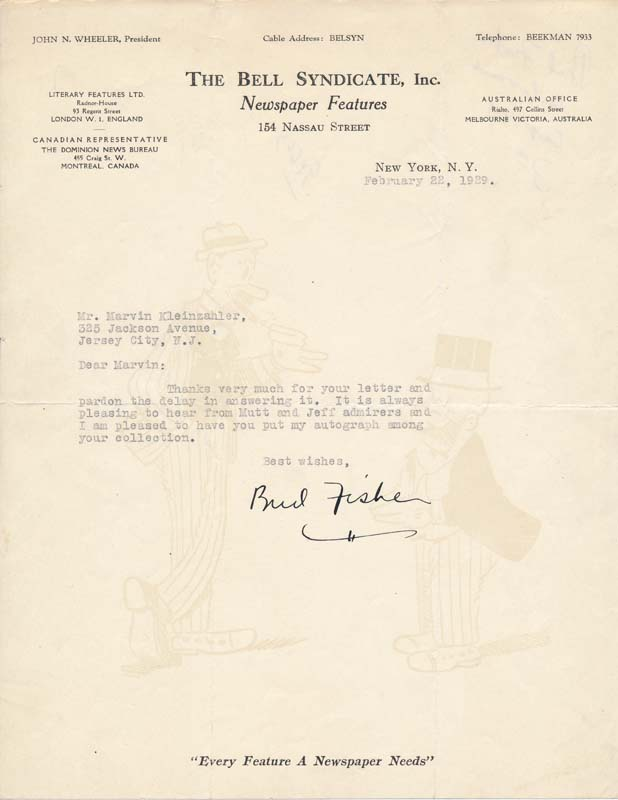 """Typed Letter Signed. Harry C. """"Bud"""" FISHER."""