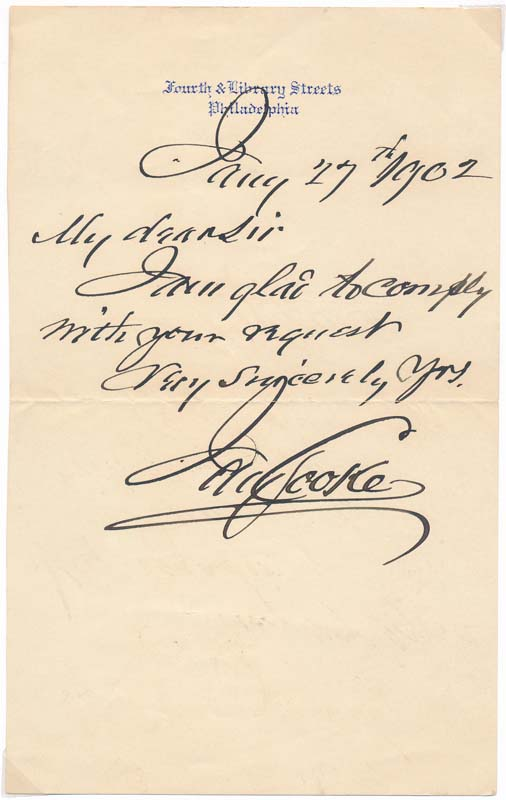 Autograph Note Signed. Jay COOKE.