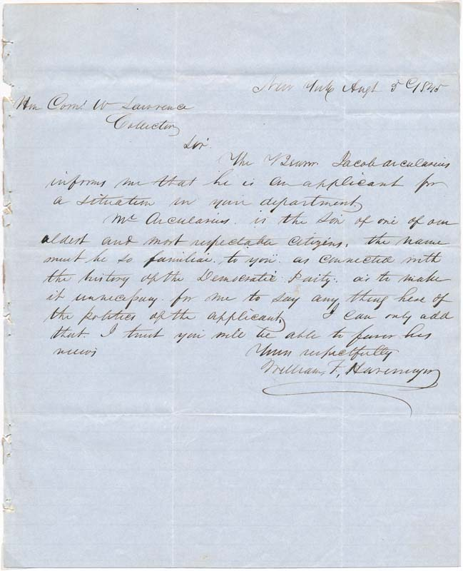 Autograph Letter Signed. William F. HAVEMYER.