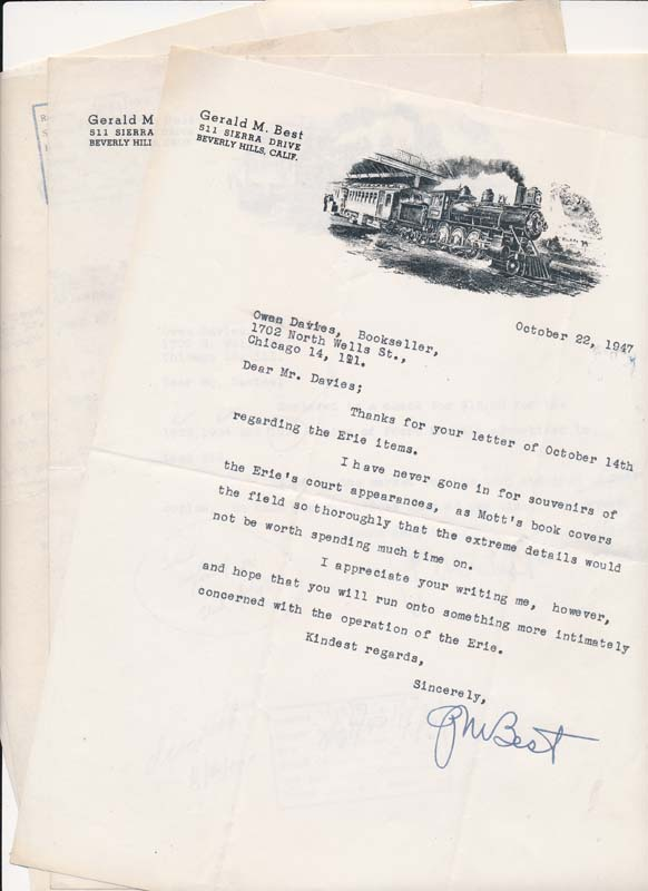 Typed Letters Signed (4). Gerald M. BEST.