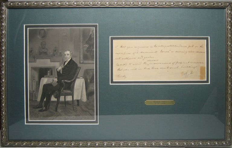 Autograph Note (unsigned) / Initialed Signature. Fisher AMES.