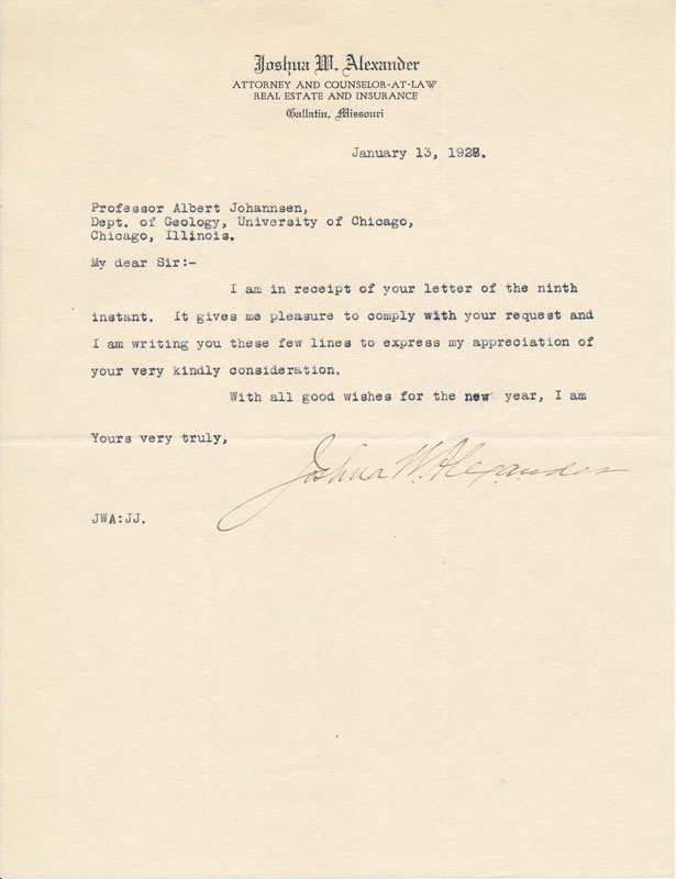 Typed Note Signed. Joshua W. ALEXANDER.