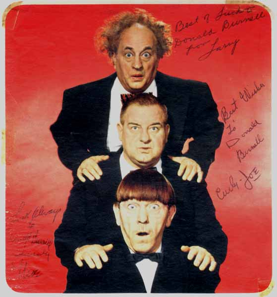 Inscribed Photograph Signed. Moe THREE STOOGES: HOWARD, Larry FINE, Curly-Joe DE RITA.