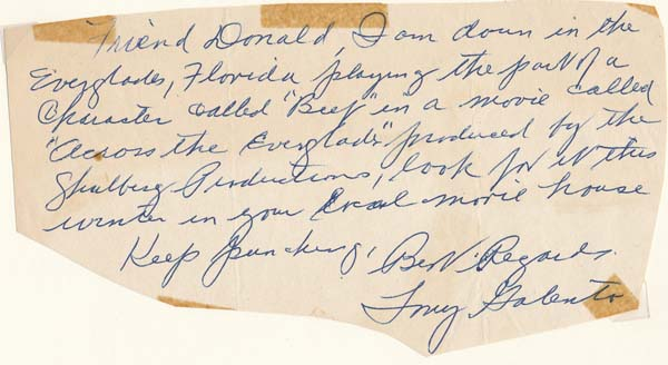 """Autograph Note Signed. Tony """"Two Ton"""" GALENTO."""
