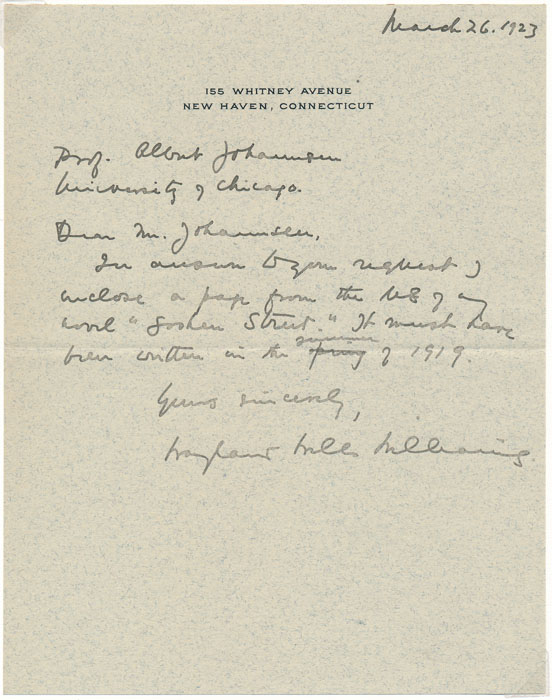 Autograph Note Signed / Autograph Manuscript (unsigned) / Inscribed Book. Wayland Wells WILLIAMS.