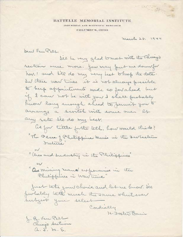 Autograph Letter Signed. H. Foster BAIN.