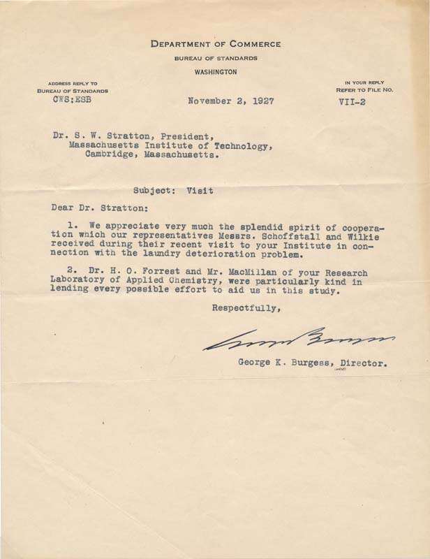 Typed Letter Signed. George K. BURGESS.
