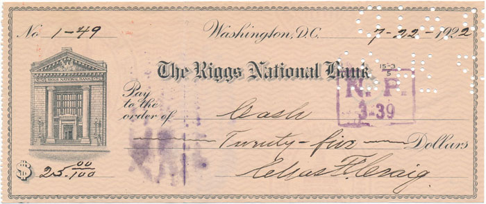 Partly-printed Autograph Document Signed. Charles F. CRAIG.