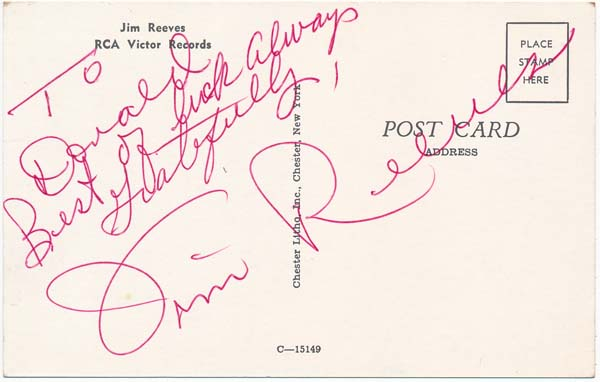 Inscribed Photograph Signed. Jim REEVES.