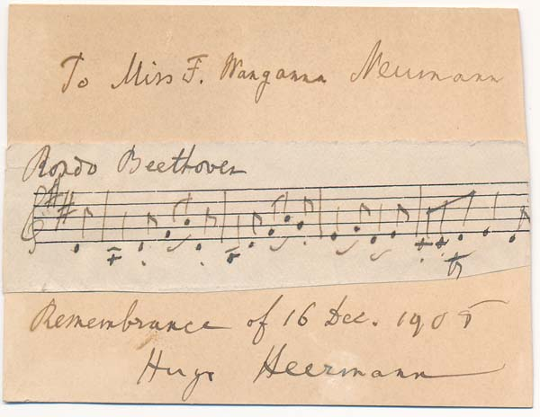 Autograph Musical Quotation Signed. Hugo HEERMAN.