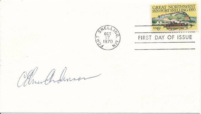 Signed First Day Cover. C. Elmer ANDERSON.