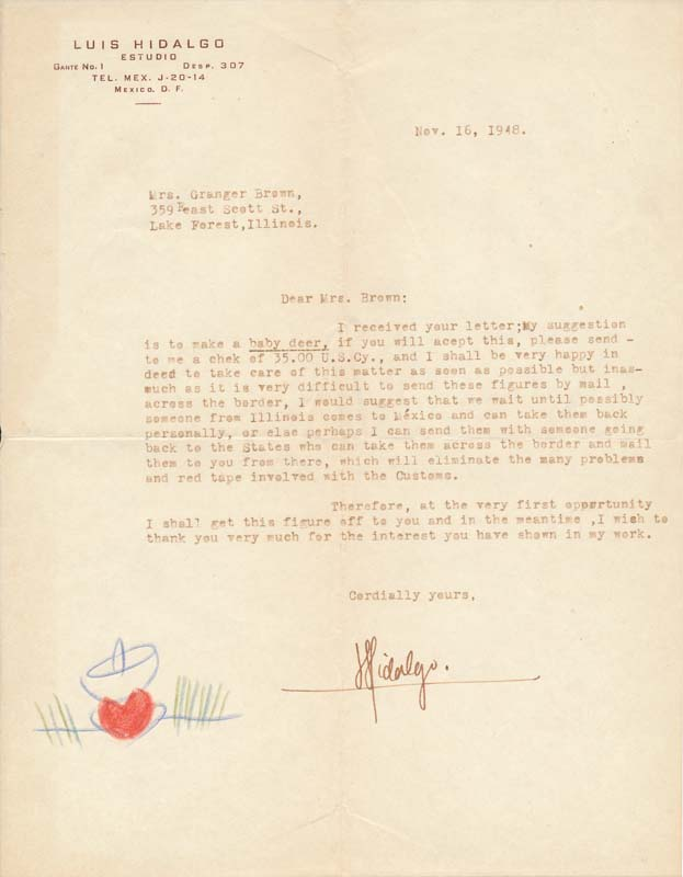 Typed Letter Signed. Luis HIDALGO.