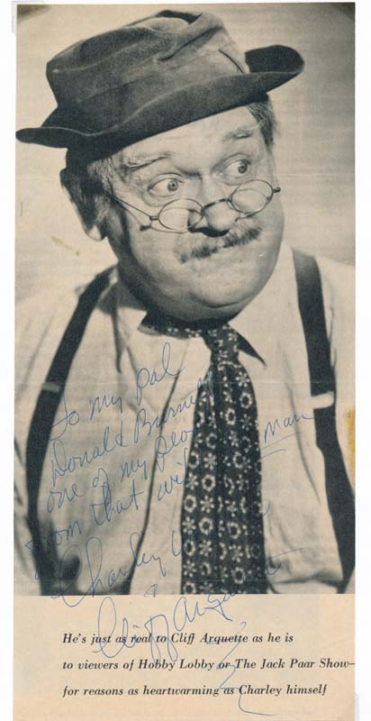 Inscribed Photograph Signed. Cliff ARQUETTE.