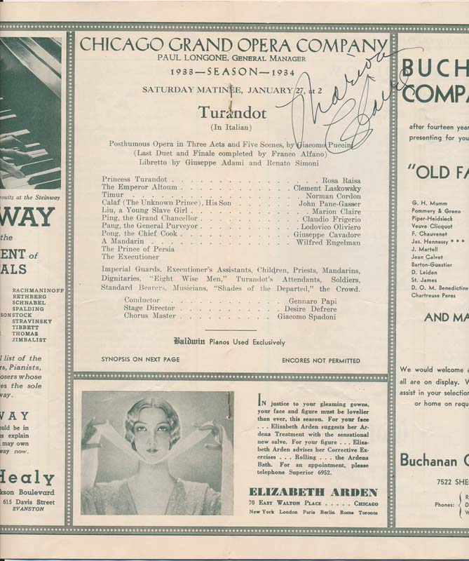 Signed Program. Marion CLAIRE.