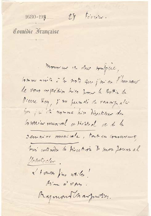 Autograph Letter Signed. Raymond CHARPENTIER.