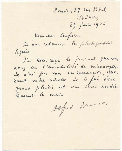 Autograph Note Signed. Alfred BRUNEAU.