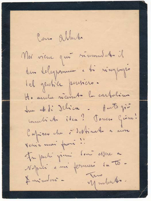 Autograph Letter Signed. Umberto GIORDANO.