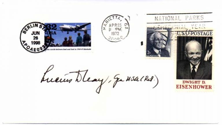 Signed Postal Cover / Unsigned Photograph. Lucius D. CLAY.
