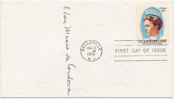 Signed First Day Cover / Unsigned Autograph Note. Elsie Maass DE CORDOVA.