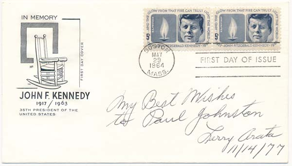 "Signed First Day Cover. Lawrence J. ""Larry"" ARATA."