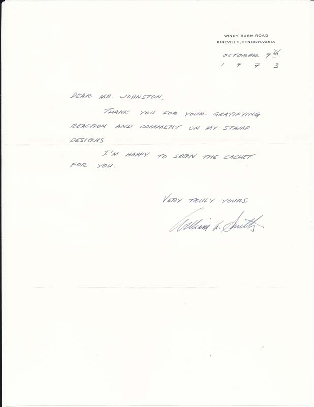 Autograph Note Signed / Unsigned Booklet. William A. SMITH.