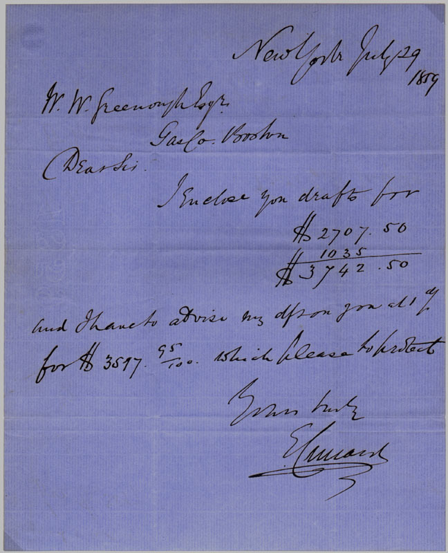 Autograph Letter Signed. Edward CUNARD.