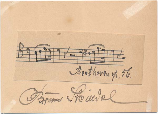 Autograph Musical Quotation Signed. Bruno STEINDEL.