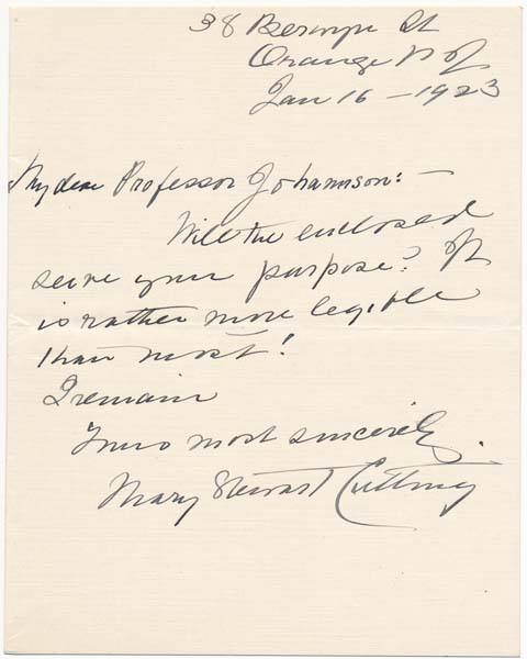 Autograph Note Signed / Autograph Manuscript Signed. Mary Stewart CUTTING.