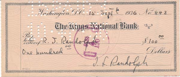 Partly-Printed Autograph Document Signed. Jessie Harlan Lincoln RANDOLPH.