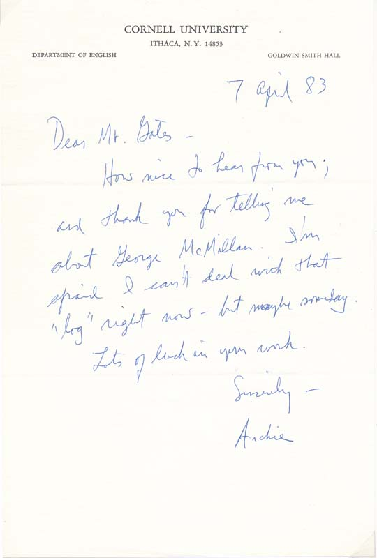 Autograph Note Signed. A. R. AMMONS.