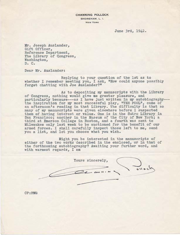 Archive of 5 Typed Letters Signed. Channing POLLOCK.