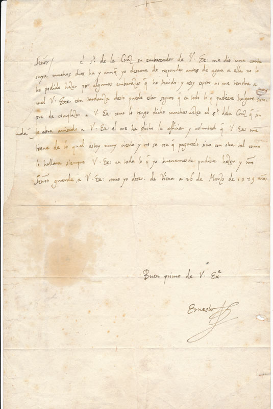 Autograph Letter Signed. Archduke ERNEST.