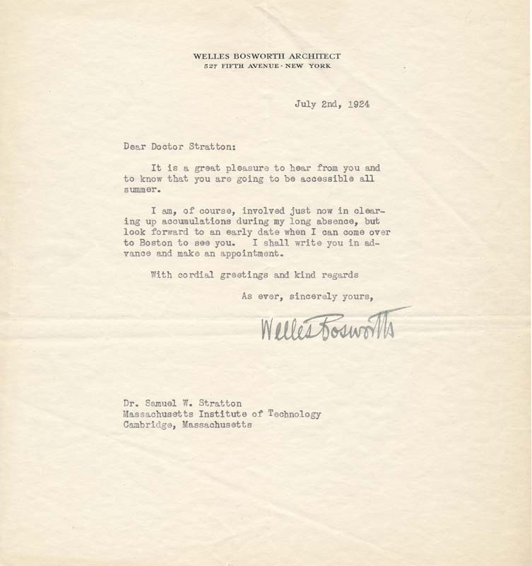 Typed Letter Signed. Welles BOSWORTH.