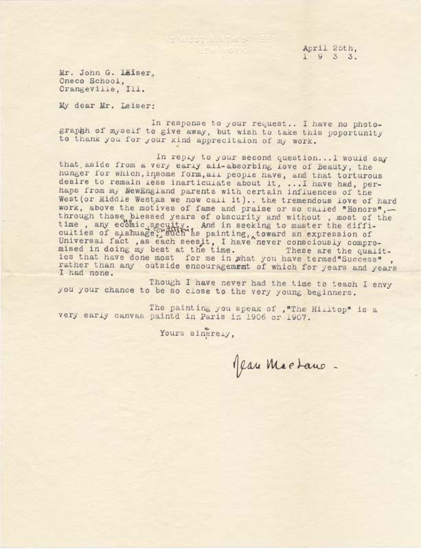 Typed Letter Signed. Jean MacLANE.