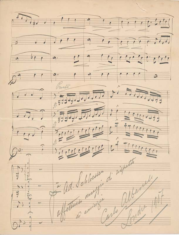 Autograph Musical Quotation Signed. Carlo ALBANESI.