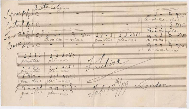 Autograph Musical Quotation Signed. Francesco SCHIRA.