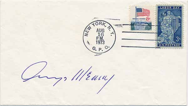 Signed Postal Cover / Unsigned Photograph. George MEANY.