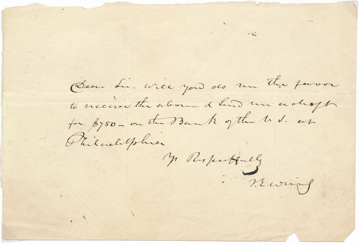 Autograph Note Signed. Thomas EWING.