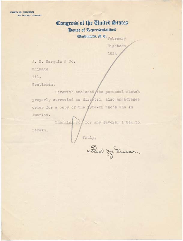 Typed Note Signed / Unsigned Typed Document / Unsigned Photograph. Frederick M. VINSON.