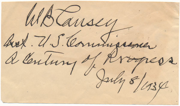 Signature and Title. W. B. CAUSEY.