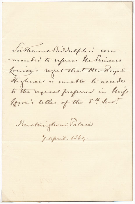 Autograph Note Signed (third person). Sir Thomas BIDDULPH.