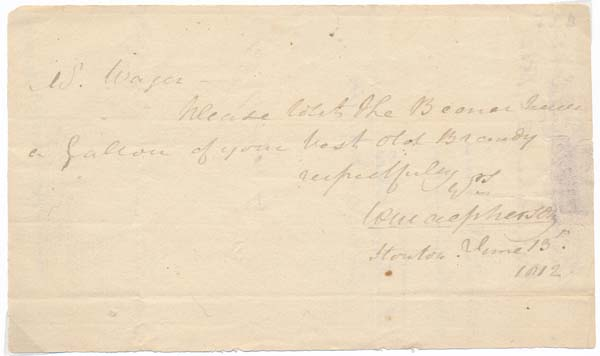 Autograph Note Signed. William MacPHERSON.