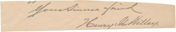 Signature and Salutation. Henry Ide WILLEY.