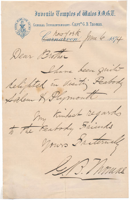 Autograph Note Signed. G. B. THOMAS.