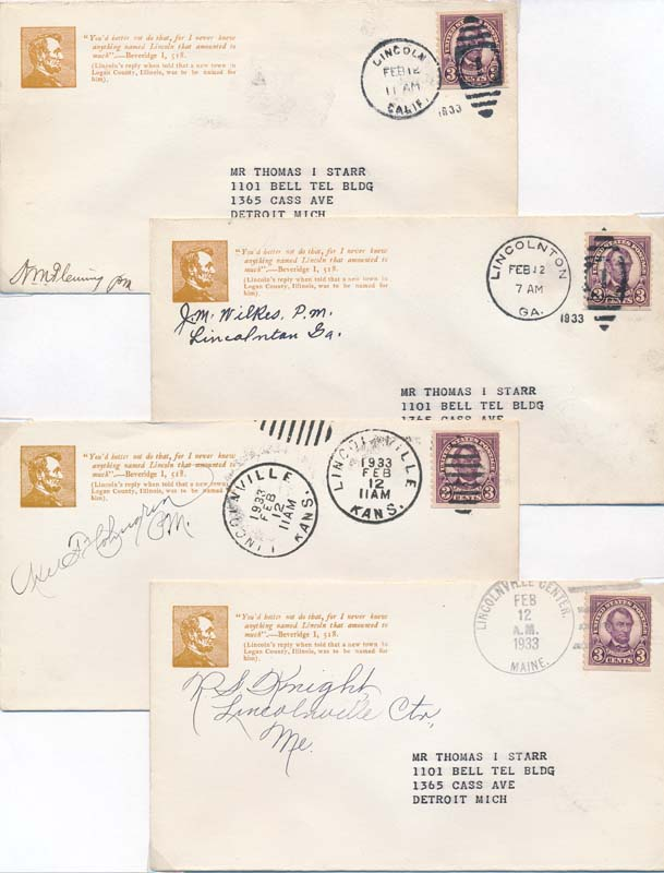 Group of Six Postal Covers. Abraham -- Philatelic LINCOLN.