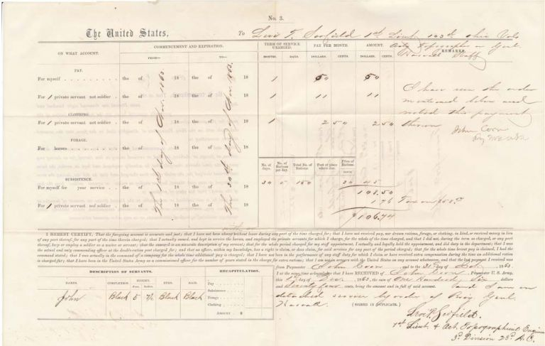 Partly-Printed Autograph Document Signed. Levi T. SCOFIELD.