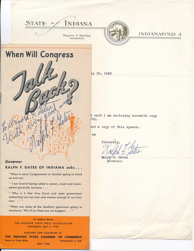 Typed Note Signed / Signed Pamphlet. Ralph W. GATES.