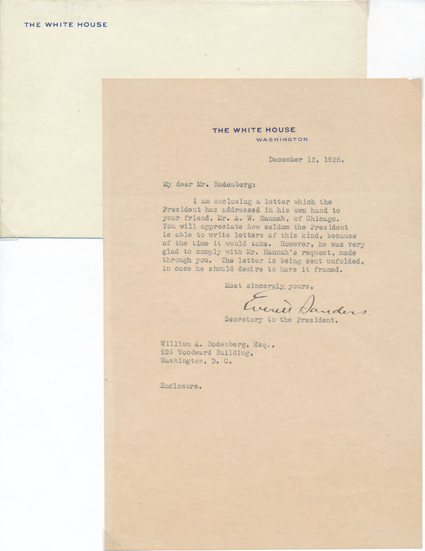 Typed Letter Signed / Unsigned Photograph. Everett SANDERS.